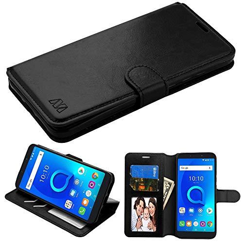 Schutzhülle für Alcatel T-Mobile Revvl 2 Plus/7, Kunstleder, mit integriertem TPU, zum Aufstecken, inkl. Eingabestift, Schwarz Boost Mobile-faceplates