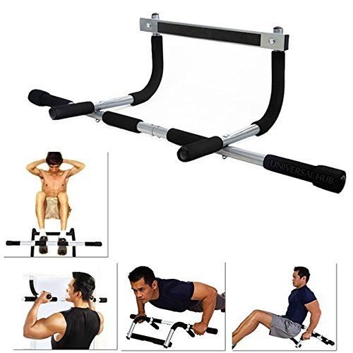 ShopyBucket Iron Gym Door Dips Upperbody Workout Height Increaser Wall Steel Mount Muscles Builder Strecher Exerciser Pull-up Bar ( Free Credit Card Holder )  available at amazon for Rs.1099