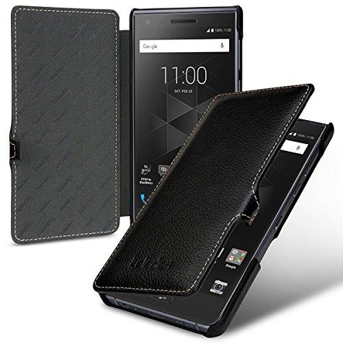 keledes Book Type Hülle Leder-Tasche für BlackBerry Motion, Lederhülle Flip-Case Handyhülle aus Echtleder für BlackBerry Motion, Schwarz mit Clip