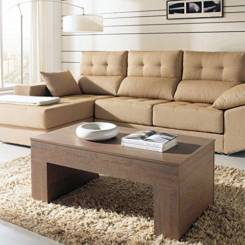 Tousmesmeubles Table Basse chêne foncé relevable - Moly - L 110 x l 60 x H 44/58 - Neuf