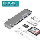 KODLIX USB C Hub (6 in 1) Aluminium USB Adapter für MacBook Pro, Type C Ladeanschluss ,40GBS Thunderbolt 3, 2 USB 3.0 Port, 1 SD und 1 microSD Kartenleser, neues MacBook Pro 2015/2016/2017, Chromebook und mehr Type-C Geräte (Grau)