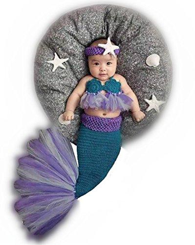 Neugeborenes Baby-gestricktes Kostüm-Outfit-Fotografie-Stützen Meerjungfrau-Stirnband-Büstenhalter-Schwanz (Meerjungfrau Muschel Bh Kostüm)