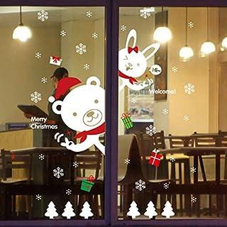 Youson Girl Fenêtre Autocollant, Noël Wall Sticker DIY Ours Lapin Fenêtre Decal De Noël Mur Mural Flocon De Neige Autocollant