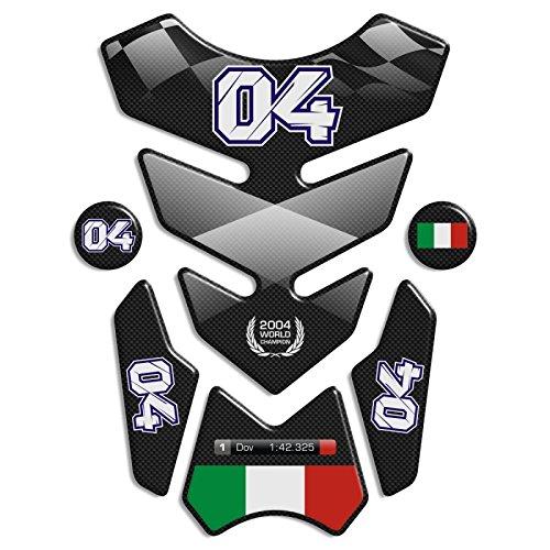 """ADESIVI PARASERBATOIO TANKPAD RESINATO EFFETTO 3D - ADESIVI-STICKER 3D compatible ''Andrea Dovizioso 04'"""" Tank Pad"""