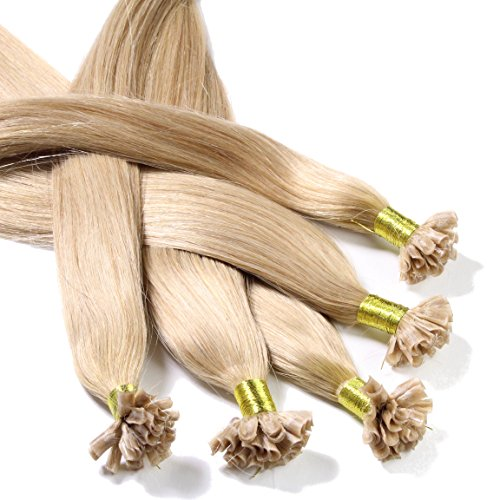 Just Beautiful Hair and Cosmetics Lot de 2 packs de 25 extensions en cheveux naturels Remy avec onglets de kératine en forme de U Blond noisette (18) 30 cm