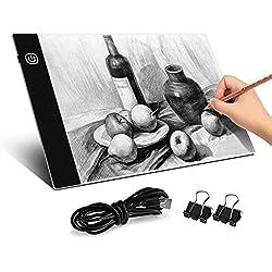 BROTOU Mesa de Luz Dibujo A4,Tableta de Luz,3.5 mm Super Delgado y Brillo Ajustable con cable USB para Pintar, Dibujar, Artesanía,Bocetos, Pintura Diamante Artcraft Tattoo Acolchado