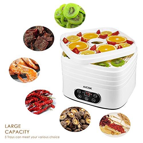Aicok Deshidratador de Alimentos 5 Bandejas con Temporizador hasta 72h y regulador de temperatura de 35 70 Grados Deshidratador de frutas vegetales carne y hierbas 240W libre de BPA blanco