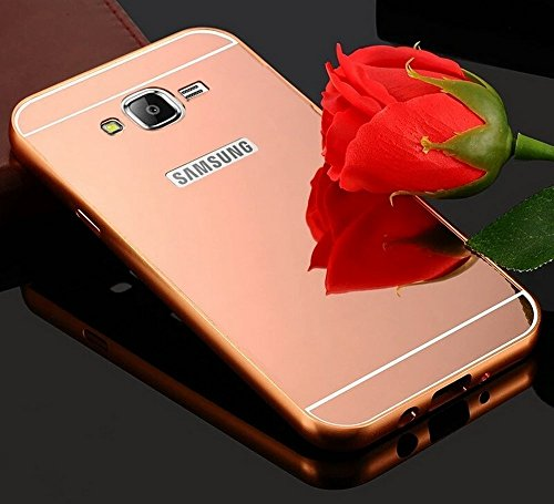 KPH Luxury Mirror Effect Acrylic back + Metal Bumper Case Cover for SAMSUNG GALAXY J7, Rose gold