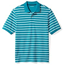 Amazon Essentials Regular-fit Striped Cotton Pique Polo Shirt Teal, Medium