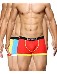 BASIICS by La Intimo Men's Blue, Red, Yellow Bold Micro Sport Trunk (Pack of 3)