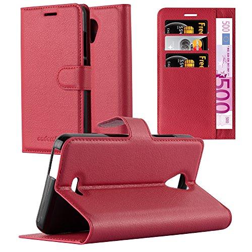 Cadorabo Hülle für Wiko Freddy - Hülle in Karmin ROT – Handyhülle mit Kartenfach und Standfunktion - Case Cover Schutzhülle Etui Tasche Book Klapp Style