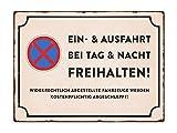 WANDSCHILD Metallschild EIN- & AUSFAHRT TAG & NACHT FREIHALTEN Vintage