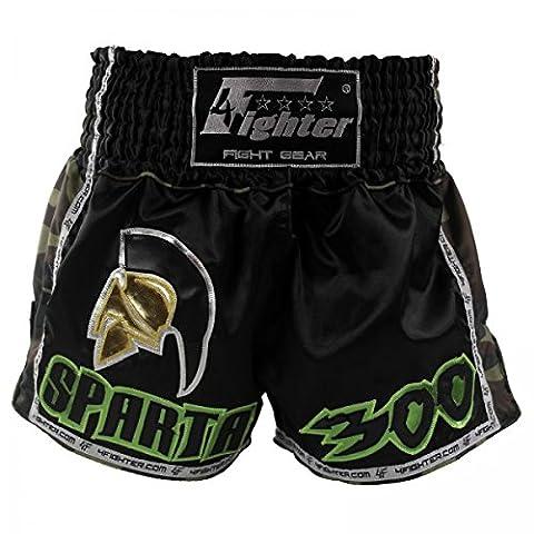 4Fighter SPARTA BLACK Muay Thai Shorts Satin mit grün braunen Camo Nylon Seiten, Größe:S - Muay Thai Kickbox Shorts