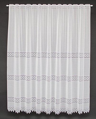 Scheibengardine Jacquard grafisch 180 cm Hoch | Breite der Gardine durch gekaufte Menge in 13 cm Schritten wählbar (Anfertigung Nach Maß) | Weiß | Vorhang Küche Wohnzimmer