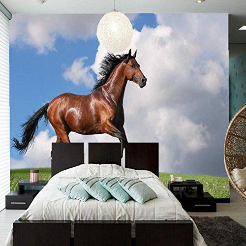 Lqwx  Benutzerdefiniertes Hintergrundbild Pferde Gras Wolken Tiere Fototapete, Wohnzimmer...