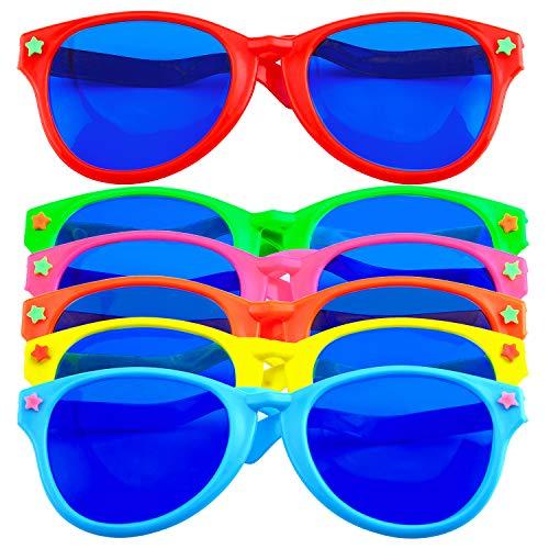 Keriber 6 Stücke Jumbo Plastik Sonnenbrillen Bunt Jumbo Brille für Kostüme hawaiisch Sandstrand Party Lieferung