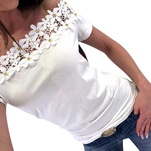 ❤️ Blusa de Encaje de Mujer Fuera del Hombro,Moda para Mujer Fuera del Hombro de Manga Corta de Encaje Ahueca Hacia Fuera la Blusa de la Camisa Ocasional Absolute (L, Blanco)