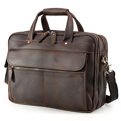 TIDING Herren Jahrgang Leder Reise Duffles Grosse Kapazität Geschäft 15 Zoll Laptop Bote Schulter Tasche Tote Handtasche Aktenkoffer Braun (Große Aktentasche Tote)