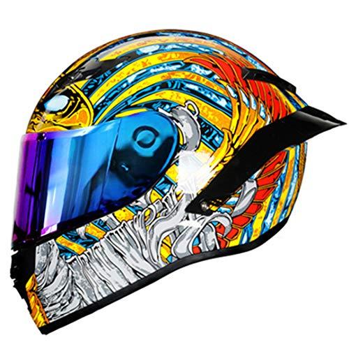 KeRuiLou Casco Moto Integrale Casco Moto Integrale off Road Motocross Moto Kask Helm rainbow1 L