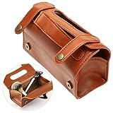 Pochette cosmétique portative de cuir de mode de sac des hommes brun PU cuir rasage brosse et trousse de toilette rasoir (Brown)