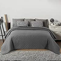 Bedsure Quilted Bedspread Grey King Size 240x260cm - Diamond Pattern Hypoallergenic Lightweight Decorative Coverlet Modern Style Microfiber Bedspread