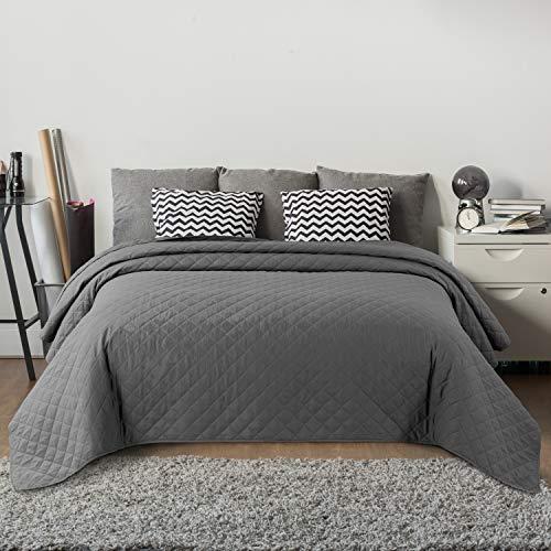 Bedsure Gesteppte Tagesdecke 220x240 cm Grau für Doppelbett Schlafzimmer, moderner Karierter...