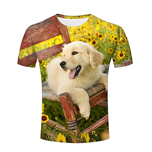 Men 3D Tshirts Unisex Dog Garden Flower Printed Creative Graphics Tees 3XL (Spandex Long Sleeve Tee Printed)