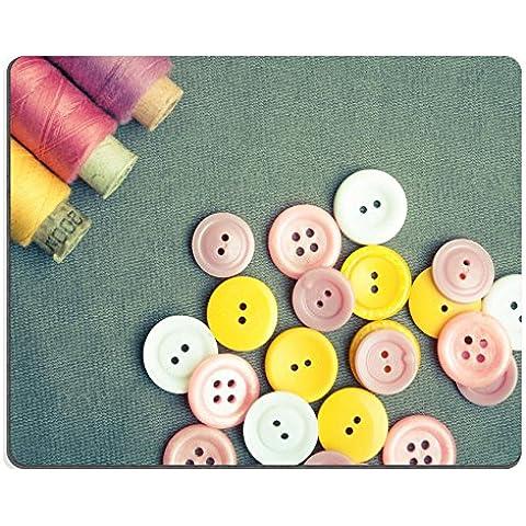 MSD-Tappetino per mouse in gomma naturale, gioco 28403257 foto ID: bobine di filo e Pulsanti on e panno di pulizia, colore: grigio - Id Bobina
