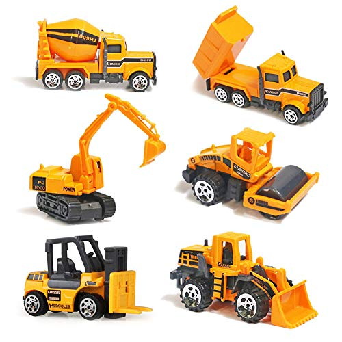 Mini Legierung Bagger Lastwagen Autos 6er Set Fahrzeugset,Kleinkind Baustelle Spielzeug ab 3 Jahren