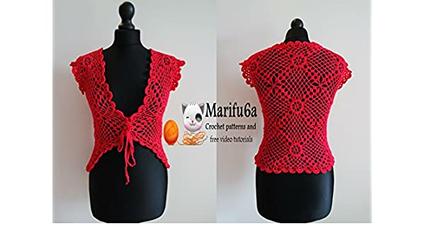 Red Crochet Jacket Bolero Pattern By Marifu6a Red Crochet Jacket