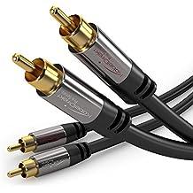 KabelDirekt PRO Series - Cable RCA (2 x macho > 2 x macho), 1m, tapado en oro, color negro