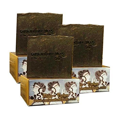 3 x CARIA Kiefer teer seife (trockene Haut Ekzeme Schuppenflechte) natürlich handgefertigt türkischen Olivenöl Kokosnuss Kakaobutter 330g (vegan) Pine Tar Soap Olivenöl Soap Bar