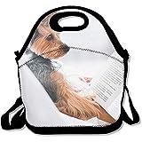Lunch Bag Netter Hund Liest Ein Buch Schultergurt Lunchpaket Lunchpaket Jungen Mädchen Lunchpaket Kinder Lunchboxen Handtasche Verstellbare Teenager