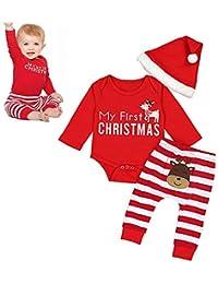 Mallalah Pyjamas Weihnachten Baby Jungen Mädchen Strampler Set Neugeborene Baby Mädchen Jungen Outfits Kleidung (Roten Strampler + Hut + Hose)