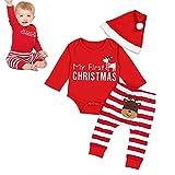 Surenhap 3 Pezzi Pigiama Natale per Bambini Abbinamento Natalizio con Due Pezzi Pantaloni a Righe con Maniche Lunghe (3-24 Mesi) - 90CM