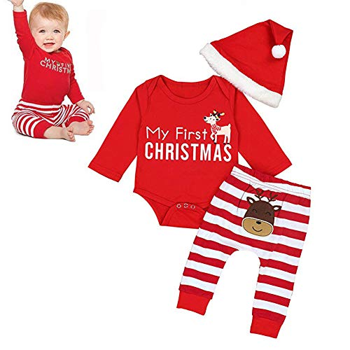 hnachten Baby Jungen Mädchen Strampler Set Neugeborene Baby Mädchen Jungen Outfits Kleidung (Roten Strampler + Hut + Hose) ()