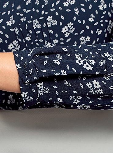 oodji Ultra Donna Camicetta con Laccetti Decorativi e Increspature sul Collo Blu (7930F)