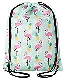 Aminata Kids - Kinder-Turnbeutel für Mädchen mit Papagei Kaktus Blume-n Flamingo Sport-Tasche-n Gym-Bag Sport-Beutel-Tasche gelb pink rosa Ananas