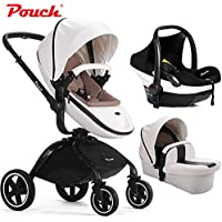Fashion 3 in 1 Baby Travel System, Baby Stroller + Sleeping Basket + Car Seat, Luxury PU leather Pushchair, High-view, Folding, Bidirectional - Modulare Pouch
