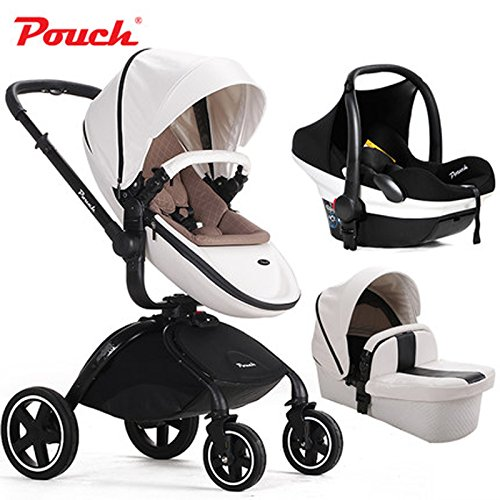 FASHION 3 EN 1 BABY JOGGER TRAVEL SYSTEM  ESTANDAR STROLLER & INDEPENDENT SLEEPING BASKET & SAFETY CAR SEAT  LUXURY PU LEATHER PUSHCHAIR  DE ALTA VIEW  FOLDING  BIDIRECCIONAL MARRON NEW WHITE