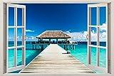 3D-Wandbild Geöffnetes Fenster - großformatig aus hochwertigem Vinyl - wiederverwendbar - Poster Blick aus dem Fenster - Wandtattoo Badezimmer - Fototapete Wandsticker Weg zum Ozean 85 x 115 cm