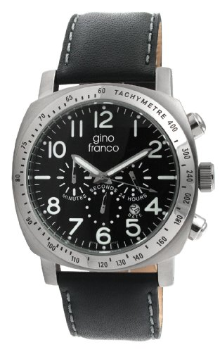 gino franco Men's 910BK Round Chronograph Stainless Steel Genuine Leather Strap Watch