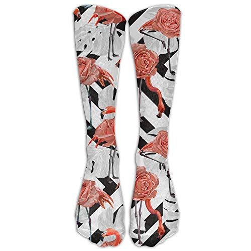 guolinadeou Tropical Flamingo Womens Compression Socks Fashion Athletic Socks High Stockings Unisex Anti-odor Running Long Sock For Men And Women (Elite Basketball Socks Youth)