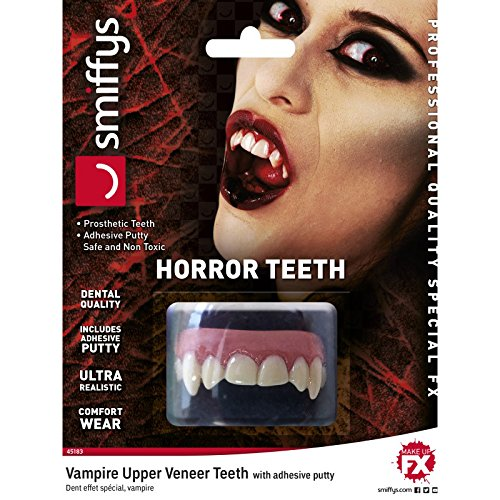 Smiffys Unisex Horror Vampir Zähne mit Fixierung und Anleitung, One Size, Weiß, ()
