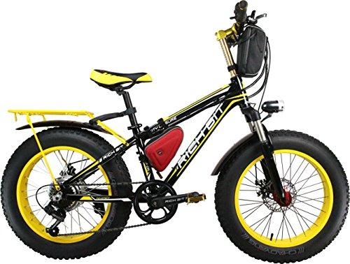 Rich Bit® RT-015 Bici Elettrica Ebike Cruiser Bicicletta Cyclisimo 350 W * 36V 10.4 Ah 21 Velocità Forcella Sospensione 7 Marce Freno a Disco Meccanico 20''* 4.0 Grosso Pneumatic Snow Bike Shimano Deragliatore Moda Pittura Giallo