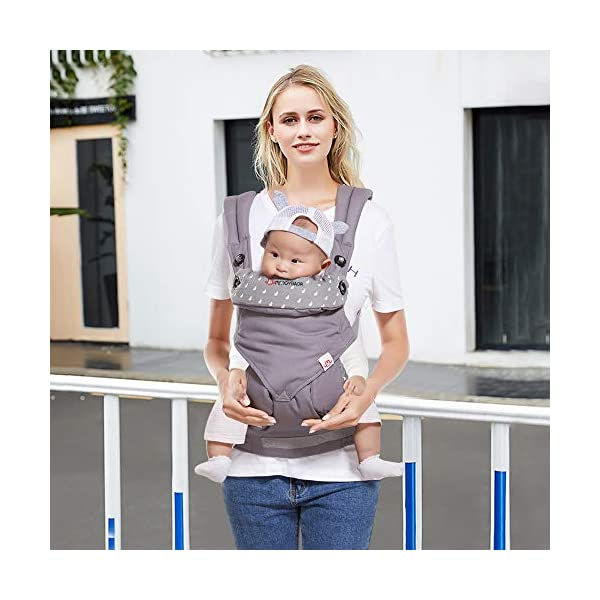 BelleStyle Baby Carrier - Adjustable & Breathable Baby Carrier Sling - Cotton Comfort Ergonomic Front and Backpack Baby Carriers for Newborns, Infants & Toddlers (3.5 to 20 kg), Dark Grey  ★All Seasons in One: Made of skin-friendly 100% cotton fabric, with a good breathable performance, comfortable and suitable for any season, one carrier fits different weathers. Lightweight and easy to bring on the go. ★Safe and Secure: Adopt the back strap and two-fold drop-proof fastener to prevent the shoulder strap from slipping off the shoulder, offering your baby a better protection. The foldable backplate assists in protecting your baby's head and neck. ★Ergonomic Design: Helps disperses baby's weight, plus, with the widened and thickened shoulder strap that can relieve mother's shoulder pressure, it makes mommy/daddy more comfortable and relaxed. Plus, the C+M sitting posture helps to protect your baby's hip bone development without affecting its blood circulation and prevent O-legs. 3
