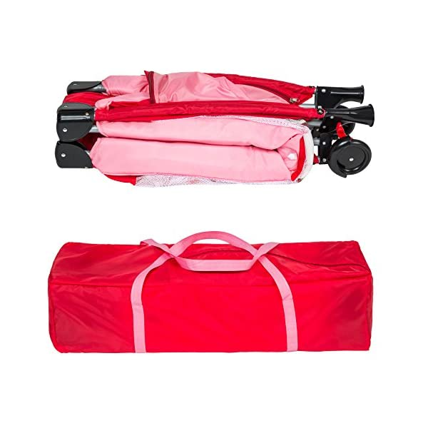 TecTake New portable child baby travel cot bed playpen with entryway -different colours- (Pink) TecTake Suitable for children up to an age of 36 months. Bed Size: 128cm length, 67cm width, 81cm height Changing mat: 68cm length, 51cm width 9