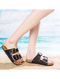 ZKOO Sandalias de Dedo Mujeres Vendaje Footbed de Corcho Chanclas de Playa Punta Abierta Sandalias Planas Zapatos de Hebilla Al Aire Libre Rojo SuSEjgAr