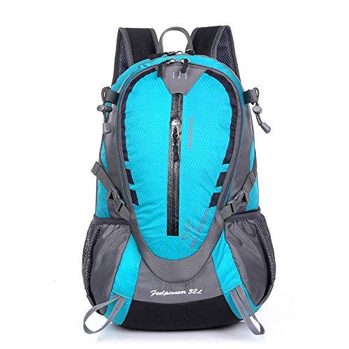sfeibo 32L Nylon impermeabile zaino per laptop da 15,6pollici multifunzione Vintage Zaino da Campeggio, Arrampicata Escursionismo tattico zaino borse da viaggio, Donna uomo, Red SkyBlue