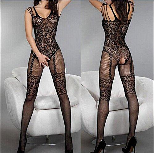 LPGSE-Sexy femmes dentelle florale ouverture entrejambe collants dentelle lingerie robe Corps